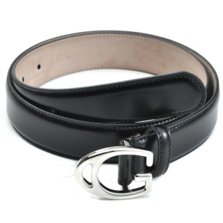 Gucci Black Leather Belt with G Buckle Size: 90 cm