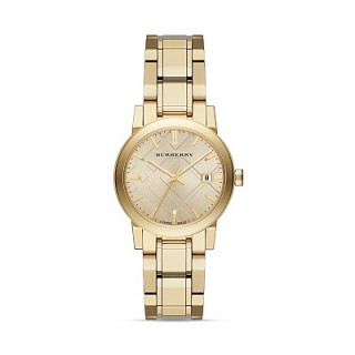 Burberry Gold-Tone Check Dial Watch, 34mm