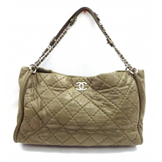 Chanel Brown Quilted Shimmer Leather Handbag
