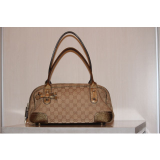 Gucci Canvas Gold Leather Trim Hand Bag