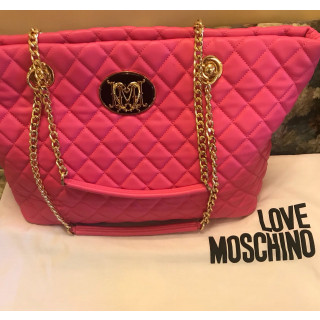 Moschino Pink Quilted Leather Shoulder Bag Tote