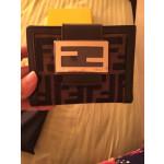 FENDI Brown FF Logo Leather Bifold Credit Card Case Coins Purse Wallet