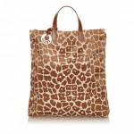 Fendi Leopard Pattern Canvas Tote Bag