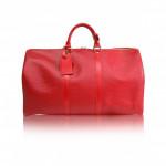 LOUIS VUITTON Castilian Red Epi Leather Keepall 50 Travel Bag